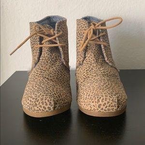 TOMs Leopard Wedge Bootie